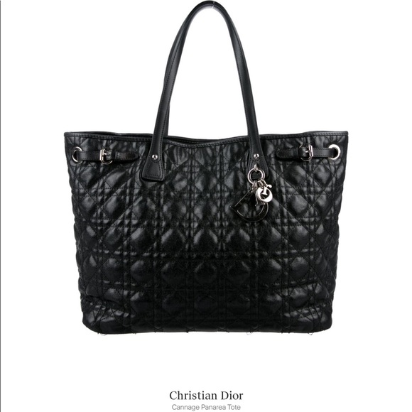 Dior Bags   Christian Black Cannage Quilted Canvas Tote   Poshmark 973363a132